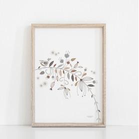 affiche enfant fille, affiche bébé fille, affiche oiseau, affiche florale, affiche nature, affiche fleurs et feuilles