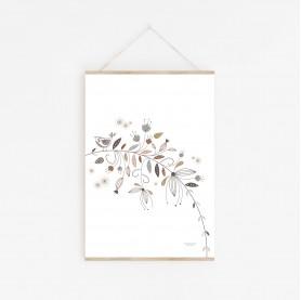 affiche enfant jardin enchanté, affiche forêt enchantée, affiche oiseaux