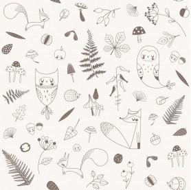 papier peint enfant forêt, papier peint enfant animaux de la forêt, lutin petit pois