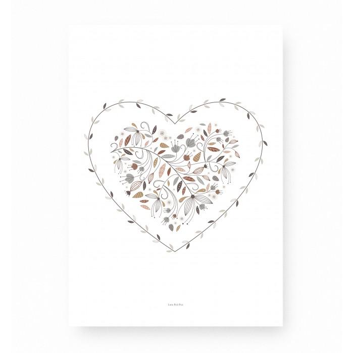 affiche cœur, affiche florale cœur, affiche cœur fleurs, lutin petit pois