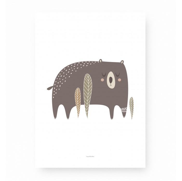 affiche enfant ours, affiche enfant animaux forêt, affiche ours, lutin petit pois
