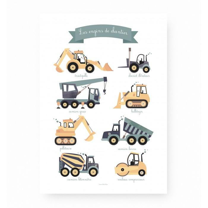 affiche enfant engins de chantier, affiche enfant tractopelle, affiche enfant véhicules