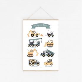 lutin petit pois, poster engins de chantier, affiche enfant voitures, affiche bébé garçon