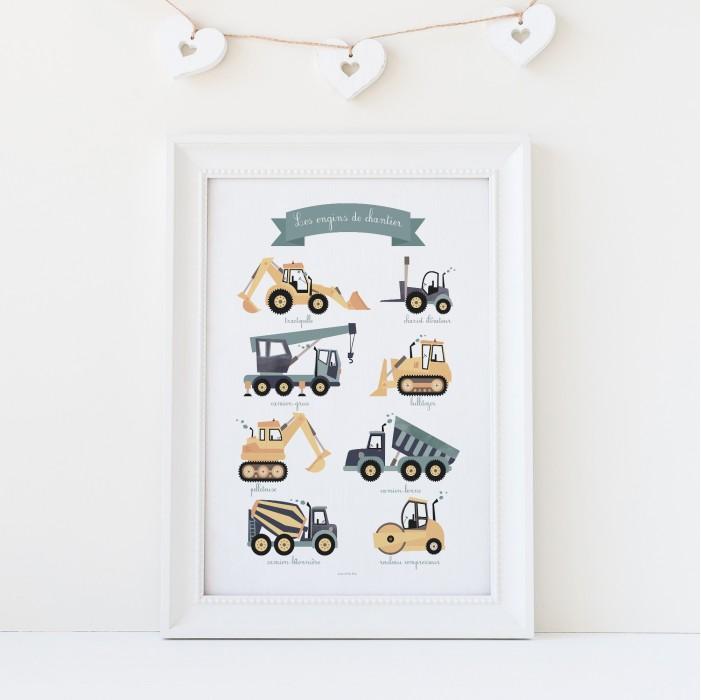 affiche véhicules, affiche bébé garçon, affiche enfant garçons, affiche pelleteuse, tractopelle