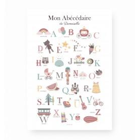 abécédaire fille, affiche enfant abécédaire, affiche alphabet, lutin petit pois