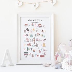 affiche enfant pédagogique, affiche enfant montessori, affiche abécédaire fille
