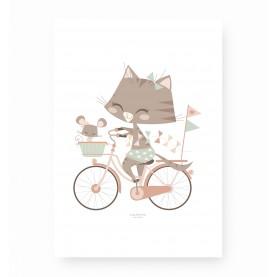affiche enfant animal, affiche bébé fille, affiche enfant rose, affiche bébé chat, lutin petit pois