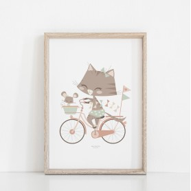 affiche enfant animaux, affiche enfant rose et vert d'eau, affiche enfant vintage