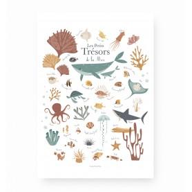affiche enfant animaux marins, affiche enfant poissons et baleines, affiche enfant mer, lutin petit pois