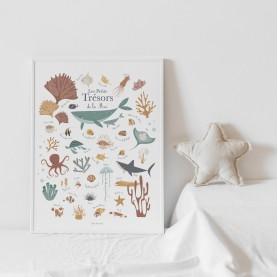 affiche enfant poissons, affiche enfant requins, affiche baleines, affiche trésors de la mer, lutin petit pois