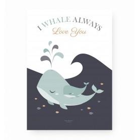 affiche enfant baleine, affiche bébé baleine, lutin petit pois, whale always love you