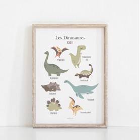 affiche dinosaures, affiche tyrannosaure, lutin petit pois, décoration dinosaures
