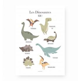 affiche enfant dinosaures, affiche dinosaures, affiche bébé dinosaures, lutin petit pois