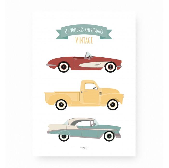 affiche enfant voitures, affiche enfant véhicules, lutin petit pois, affiche bébé voitures