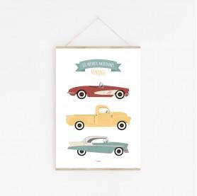 affiche bébé voitures, affiche bébé véhicules, les voitures américaines vintage, lutin petit pois