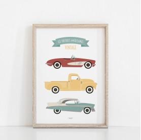 affiche enfant véhicules, affiche enfant camions, poster enfant voitures, lutin petit pois