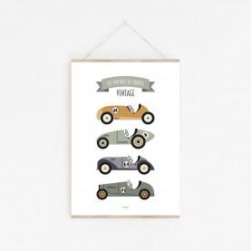 affiche bébé véhicules, affiche voitures vintage, affiche enfant camions, lutin petit pois