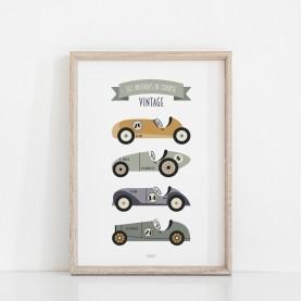 affiche enfant voitures de course vintage, affiche enfant garçon, affiche bébé garçon, lutin petit pois