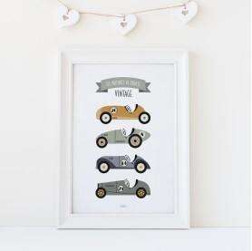 poster enfant voitures, poster enfant véhicules, affiche enfant voitures de course, lutin petit pois