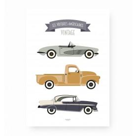 affiche enfant voitures, affiche enfant véhicules, affiche voitures américaines vintage, lutin petit pois