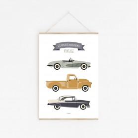 affiche bébé voitures, affiche bébé véhicules, américaines vintage, lutin petit pois