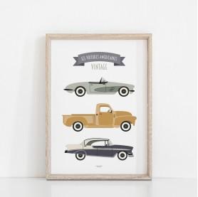affiche enfant voitures jaune moutarde, affiche enfant véhicules vintage, affiche enfant garçon, lutin petit pois