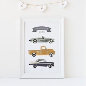 les voitures américaines vintage, affiche enfant vert saule, affiche enfant vert d'eau, affiche enfant jaune moutarde
