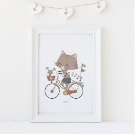 affiche enfant animal chat et souris, affiche enfant garçon, affiche bébé garçon, lutin petit pois