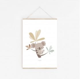 affiche enfant animal, affiche bébé garçon, affiche bébé, lutin petit pois, koala