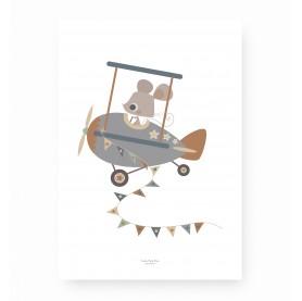 affiche enfant avion, affiche enfant souris, affiche enfant animal, lutin petit pois