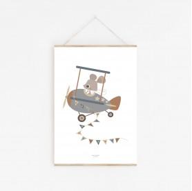 affiche bébé garçon, affiche enfant garçon, souris pilote, affiche enfant animal