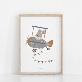affiche enfant bleu et ocre, affiche bébé bleu et ocre, lutin petit pois, affiche enfant avion bleu