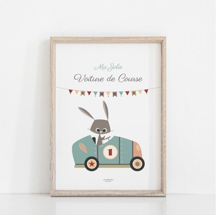 affiche bébé voiture, affiche bébé lapin garçon, affiche enfant bleu turquoise, bleu pétrole, bleu canard