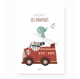 affiche enfant pompier, affiche enfant camion pompier, affiche bébé camion de pompier