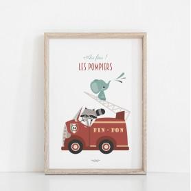 affiche bébé pompiers, lutin petit pois, affiche bébé camion, affiche bébé véhicule, affiche pompier