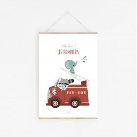 affiche bébé éléphant et raton laveur, affiche enfant camion pompier animaux, affiche bébé garçon