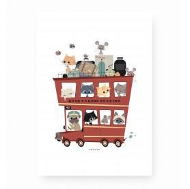 affiche enfant bus londonien, affiche enfant bus rouge, affiche enfant camion, lutin petit pois