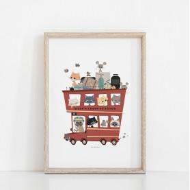 affiche enfant véhicule, affiche enfant bus à étage, affiche enfant bus anglais