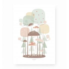 affiche enfant forêt enchantée, affiche enfant forêt, affiche enfant rose et vert d'eau