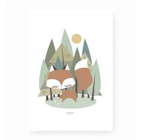 affiche enfant renard, affiche bébé renard, lutin petit pois