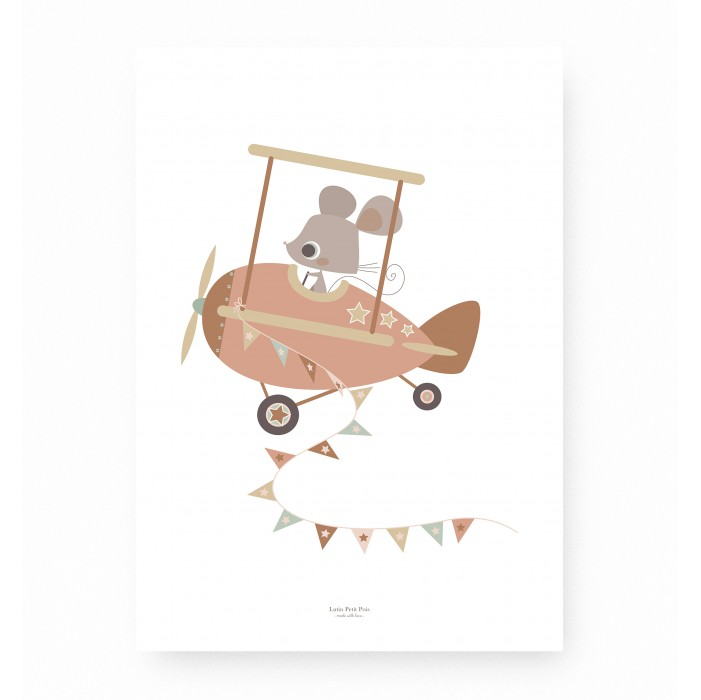 affiche enfant rose et ocre, affiche bébé fille rose et ocre, affiche bébé fille, lutin petit pois
