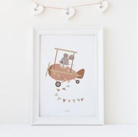 affiche bébé souris, affiche bébé fille rose avec ocre, lutin petits pois, affiche bébé animaux