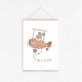 affiche bébé rose, affiche bébé souris avion, affiche enfant rose et marron