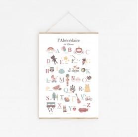 abécédaire personnalisable, affiche alphabet personnalisable, affiche enfant prénom rose