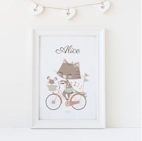 affiche enfant personnalisable prénom fille, affiche bébé fille prénom rose, lutin petit pois, géraldine chat vélo