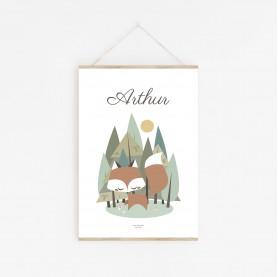 affiche enfant prénom renard, affiche bébé prénom animaux de la forêt, affiche personnalisée