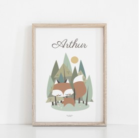 affiche bébé renard personnalisé avec prénom, affiche enfant garçon, lutin petit pois, renard