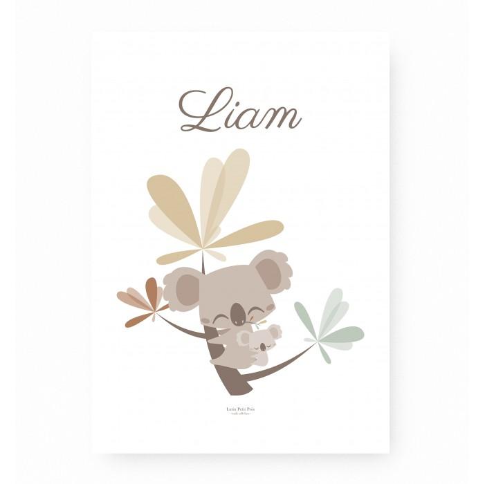 affiche enfant koala personnalisable prénom, affiche bébé koala prénom, lutin petit pois