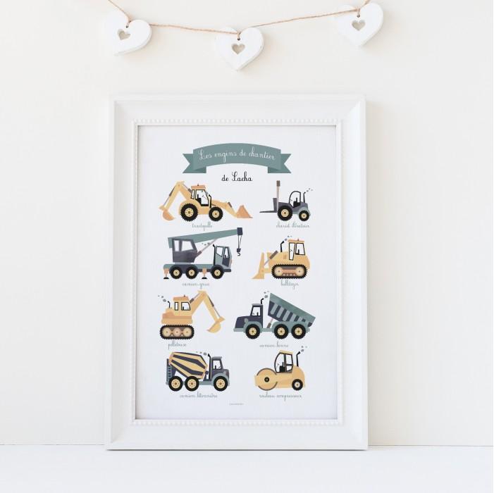 affiche bébé garçon prénom véhicules de chantier, affiche enfant personnalisable prénom