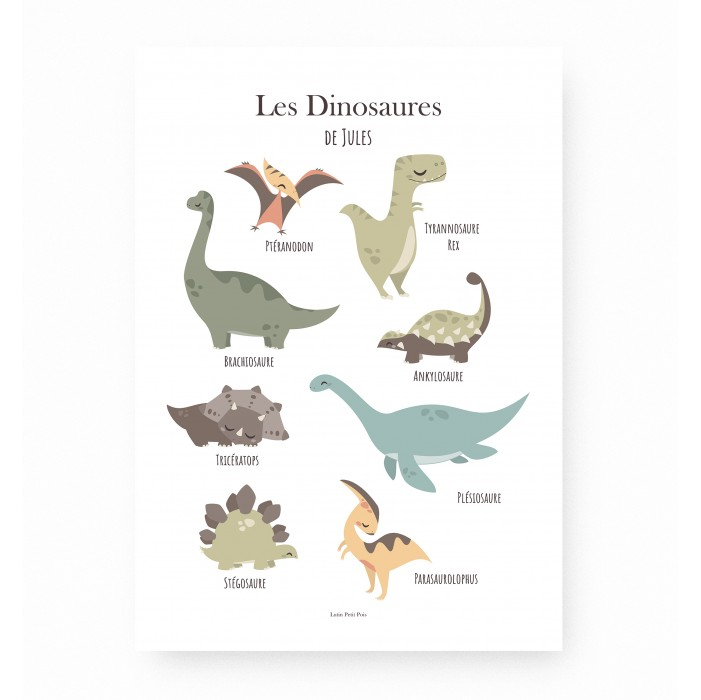 affiche enfant dinosaure personnalisable prénom, affiche prénom dinosaures, lutin petit pois